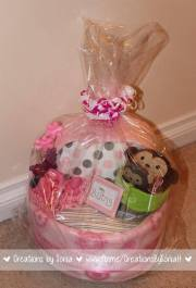 Monkey Girl Baby Bassinet Diaper Cake! by Creations by Sonia @creationsbysh