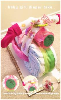 Girl Diaper Cake Bike! by Creations by Sonia @creationsbysh