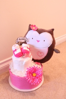 Owl Diaper Cake, Baby Girl, created by Creations by Sonia, find more at www.creationsbysonia.ca!