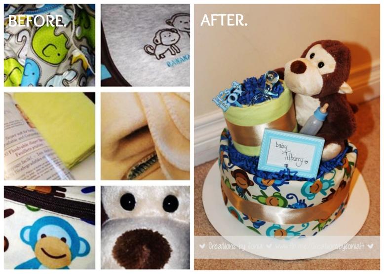 It's a Boy! Monkey Themed Cloth Diaper Cake!