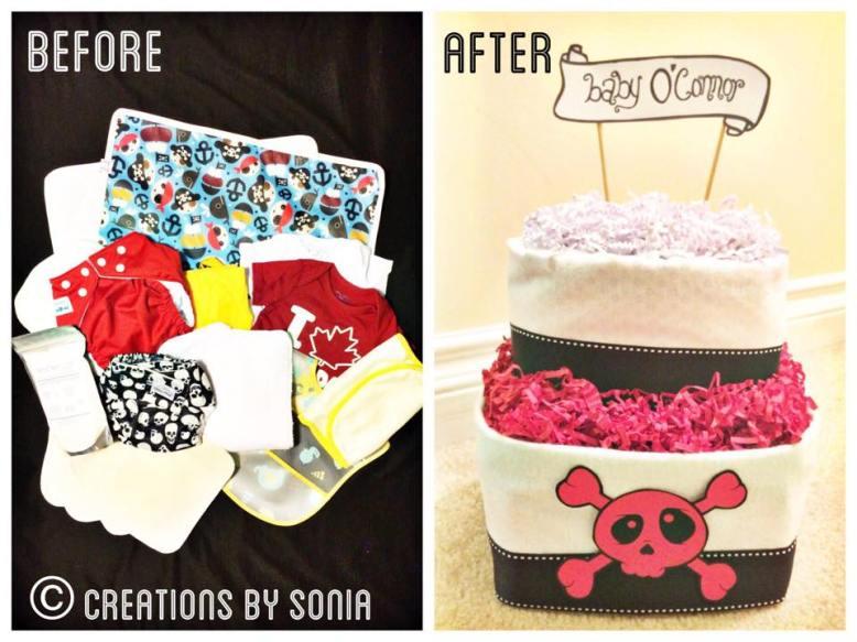 Neutral Skull Themed Cloth Diaper Cake!