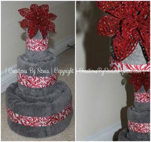 Three Tiered Towel Cake by © Creations by Sonia - www.creationsbysonia.wordpress.com