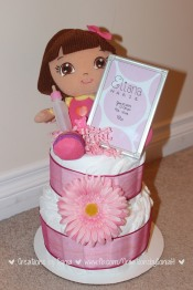 Dora Diaper Cake for baby Eliana! by Creations by Sonia @creationsbysh { www.creationsbysonia.ca }