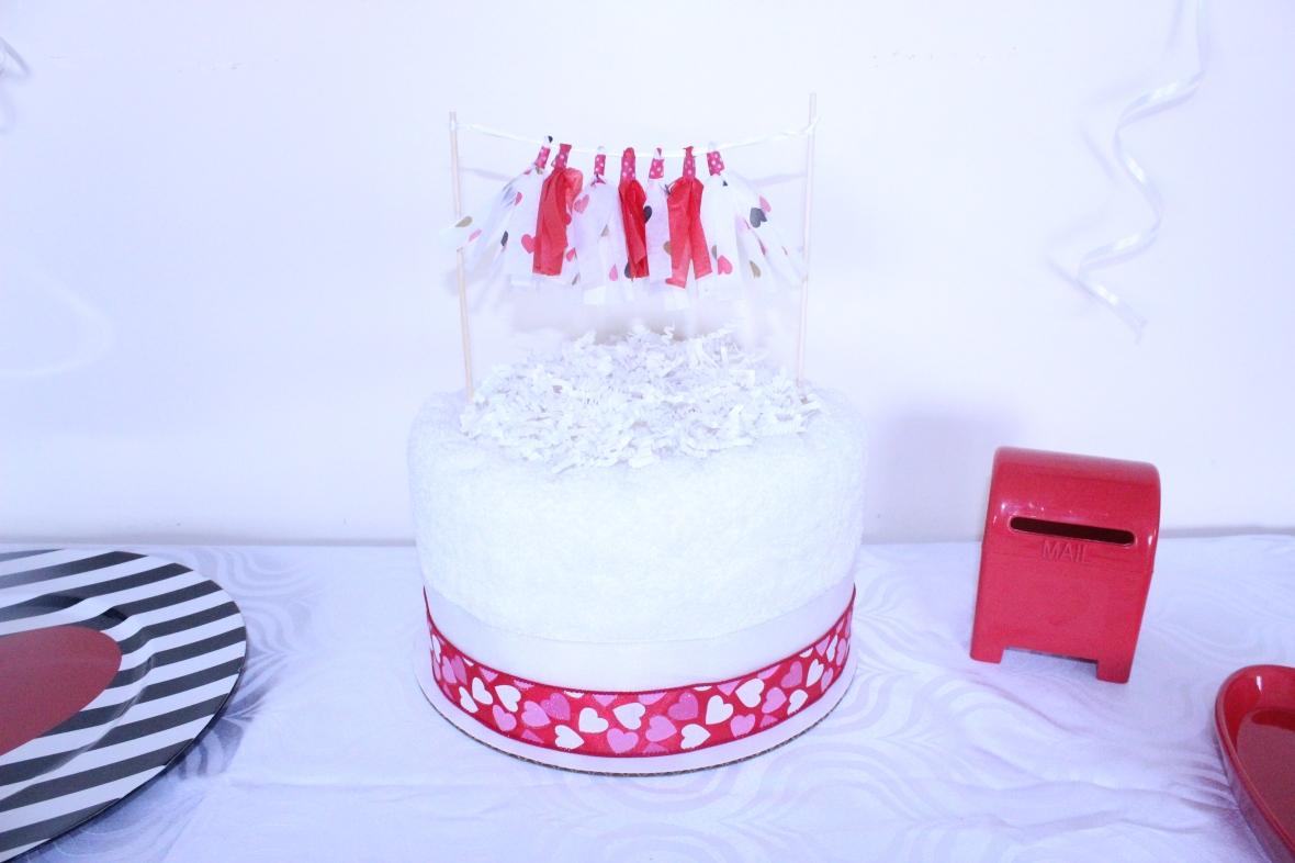 Creations by Sonia - Towel Cake w. Mini Tassel Garland { www.creationsbysonia.ca }
